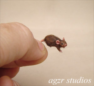 1:12 scale miniature brown mouse rat handmade sculpture animal art
