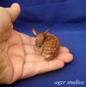 1:12 ooak handmade resting fawn deer wild animal wood pet