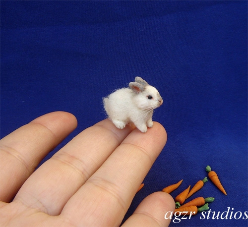 1:12 dollhouse white baby bunny rabbit handmade furred