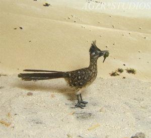 1:12 dollhouse miniature road runner bird & lizard in mouth