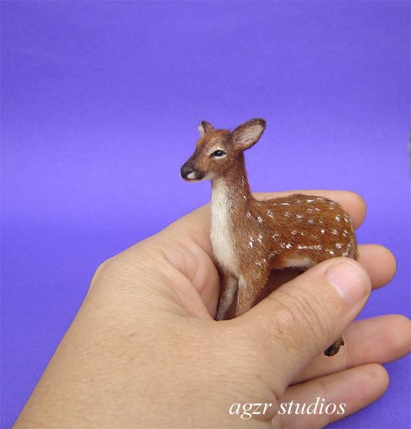 1:12 dollhouse miniature standing fawn baby deer ooak sculpture animal