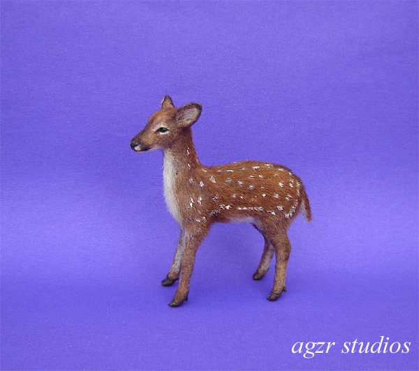 1:12 dollhouse miniature standing fawn baby deer furred handsculpted with fur