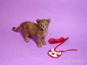 1:12 handmade miniature lion cub Simba cat pet realistic furred dollhouse diorama