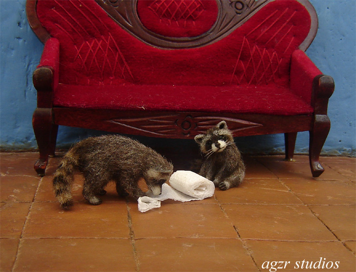 Ooak 1:12 dollhouse racoons baby pets