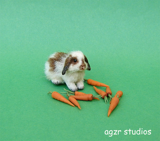 1:12 furred miniature lop bunny rabbit dollhouse handmade