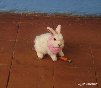 1:12 dollhouse white baby bunny rabbit