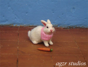 1:12 dollhouse white baby bunny rabbit handcrafted realistic agzr studios