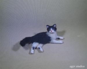 1:12 miniature dollhouse tuxedo cat realistic furred handmade ooak