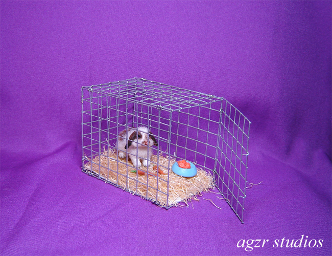 1:12 dollhouse lop bunny & cage furred realistic handmade