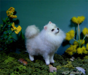 1:12 dollhouse miniature spitz furred dog pet
