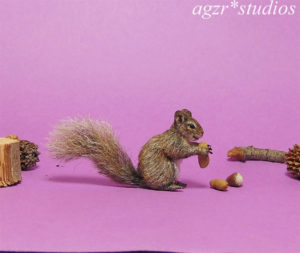 Handmade 1:12 miniature gray squirrel with a peanut realistic animal pet