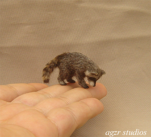 Ooak 1:12 dollhouse racoon baby in standing pose