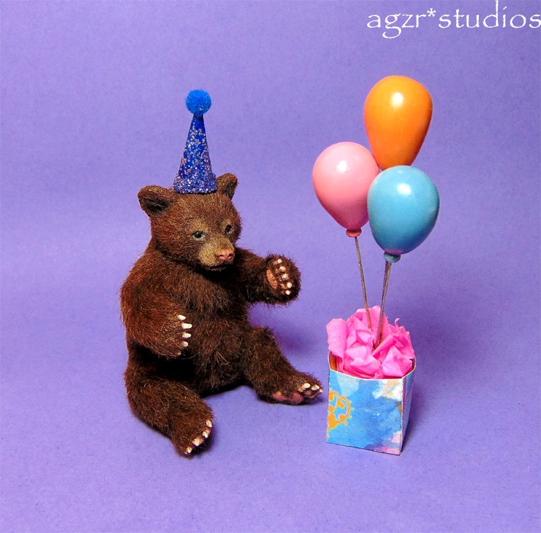 Ooak 1:12 scale grizzly bear cub with party hat