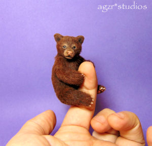 Ooak 1:12 scale grizzly bear cub poseable animal furred realistic