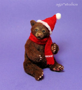 Ooak 1:12 scale grizzly bear cub with Santa Christmas hat