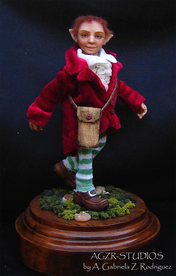 Ooak Sculpture Doll Dwarf Gnome Elf  Handmade in polymer clay by A Gabriela Z Rodriguez