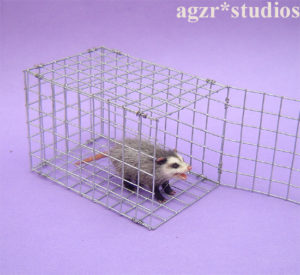 Ooak 1:12 furred miniature opossum possum marsupial cage handmade