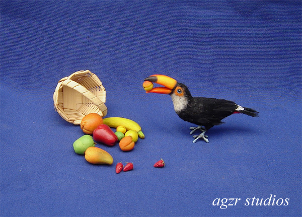 Ooak 1:12 dollhouse miniature toco toucan bird handcrafted feathered