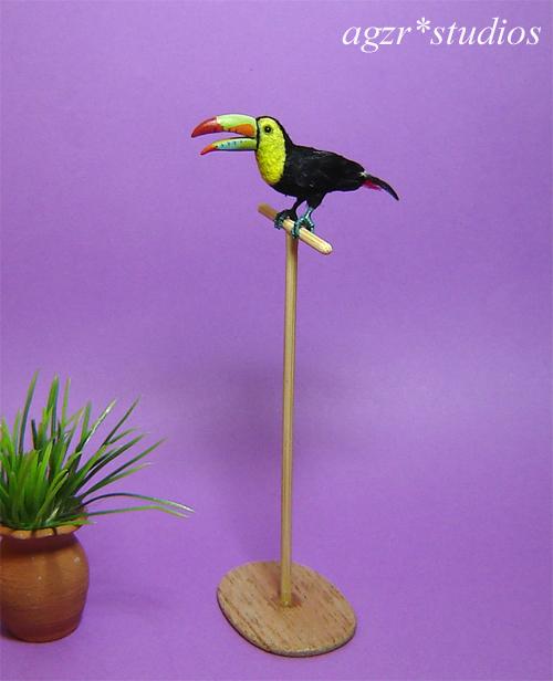 Ooak 1:12 dollhouse miniature keel billed toucan bird & perch diorama roombox