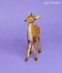 1:12 dollhouse miniature standing fawn furred realistic animal