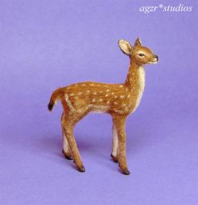 1:12 dollhouse miniature standing fawn deer ooak furred