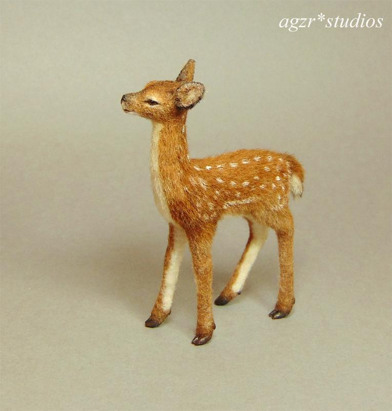 1:12 dollhouse miniature standing fawn deer animal