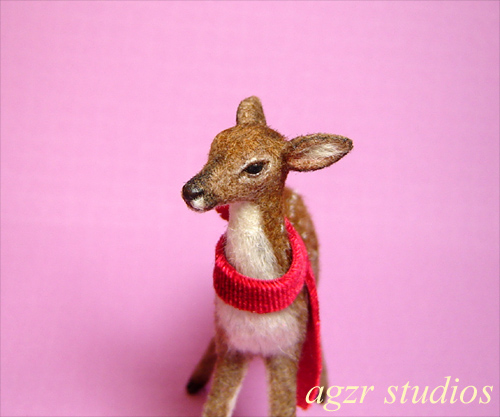 1:12 dollhouse miniature standing fawn furred handsculpted with fur