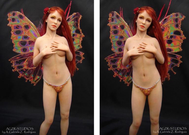 Ooak Venus Fairy Fae Doll Handmade in polymer clay AGZR STUDIOS