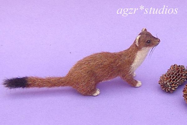 1:12 handmade miniature weasel furred wild animal comadreja