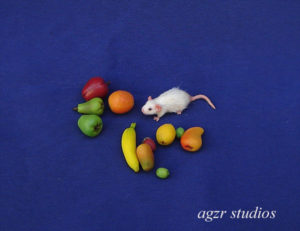 1:12 scale white mouse for dollhouse miniature world ooak realistic animal