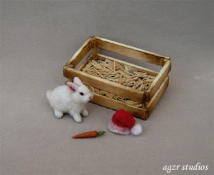 1:12 dollhouse furred miniature white bunny rabbit baby