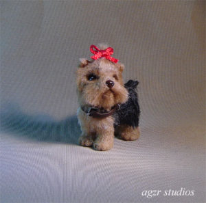 1:12 miniature Yorkshire terrier dog handmade dollhouse